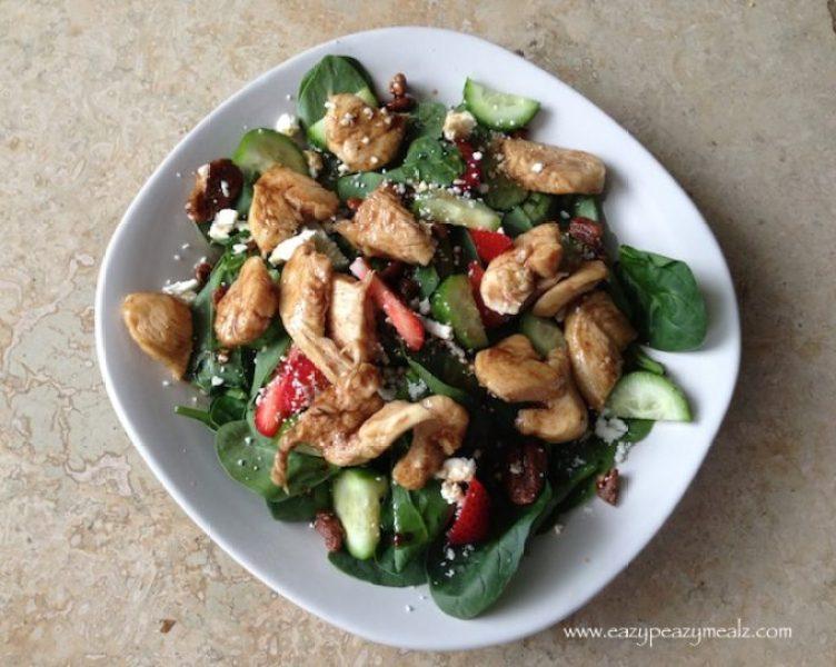 sweet balsamic, chicken spinach salad