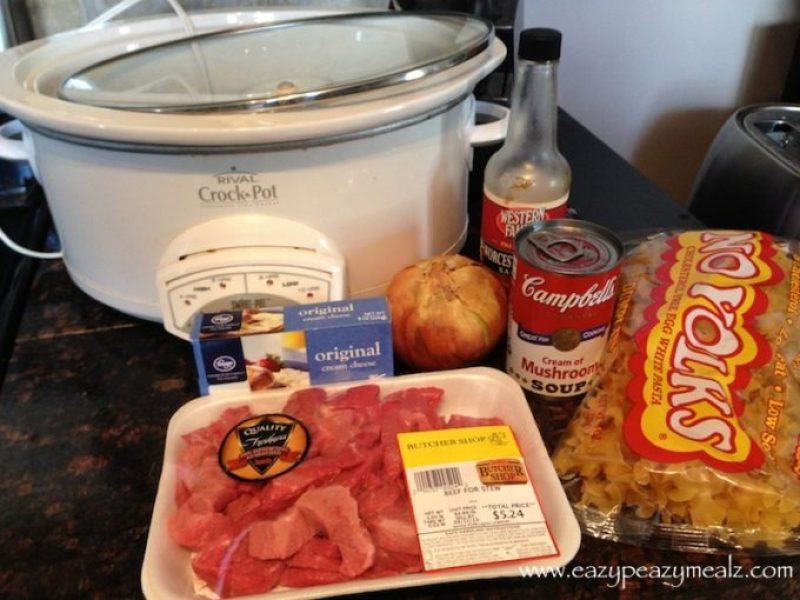 beef stroganoff in crock pot
