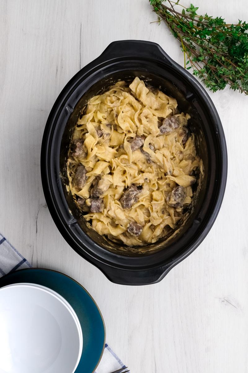 Slow Cooker Beef Stroganoff in a crock pot