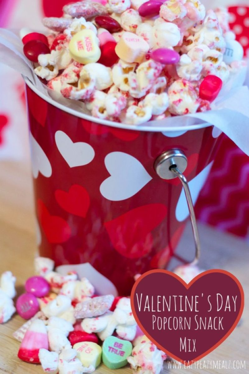 valentine's day, popcorn, white chocolate, snack mix