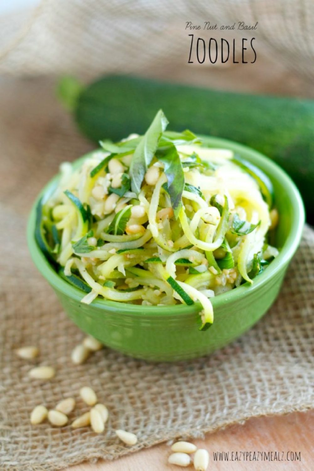 pine nut, zoodles, zucchini, basil
