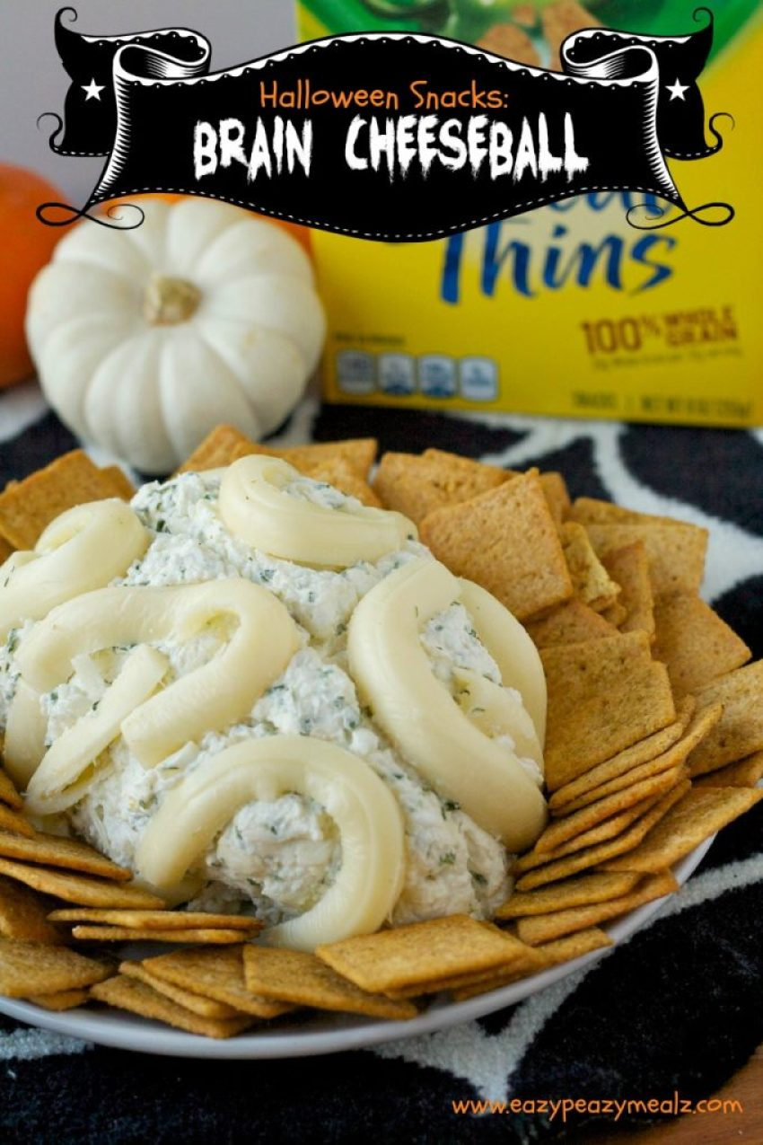 Halloween snacks blue cheese brain cheesball
