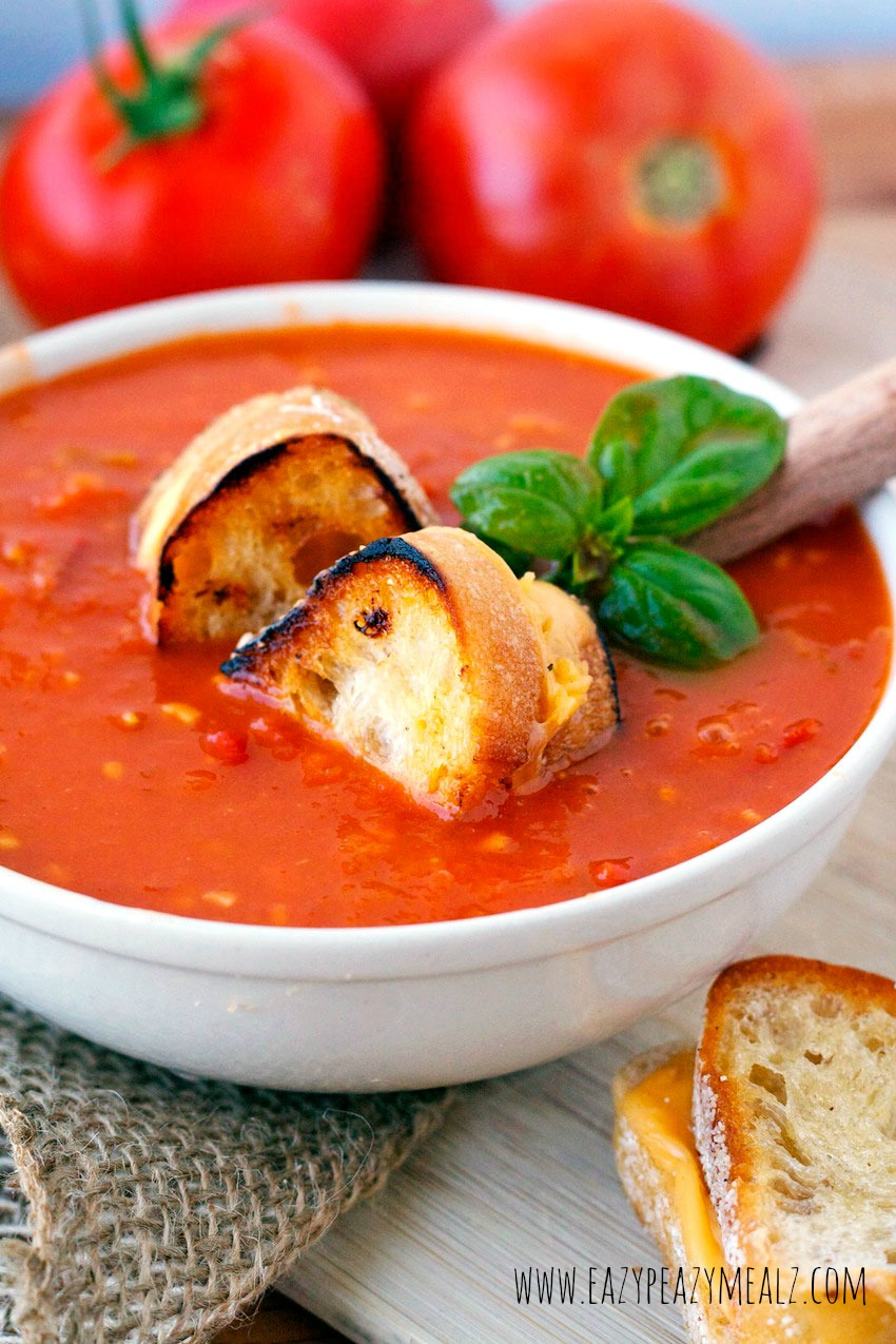 Tomato Basil Soup with grilled cheese croutons!