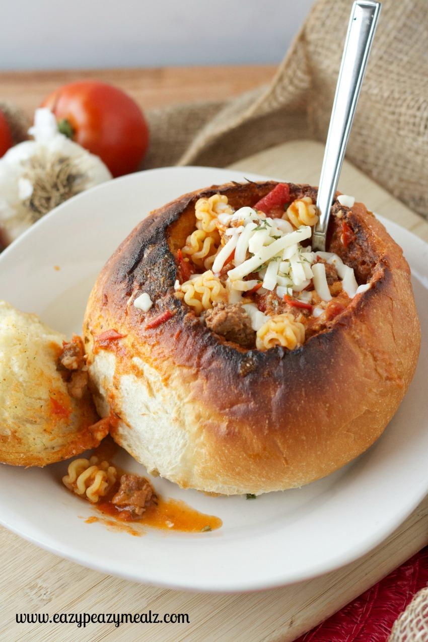 bread bowl lasagna soup