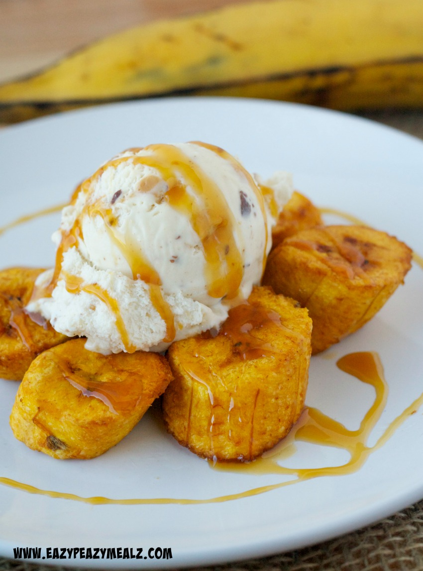 fried plantains with caramel