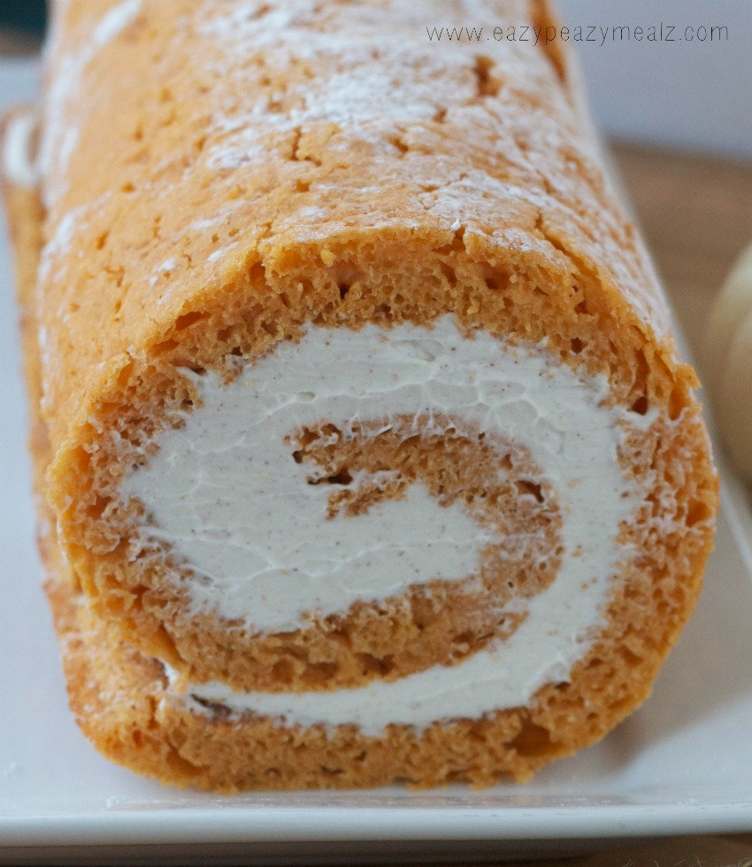 unfinished pumpkin cake roll