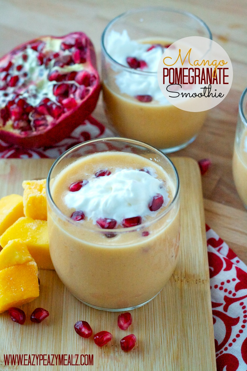 A Mango Pomegranate Smoothie, a refreshing and delicious blend of flavor