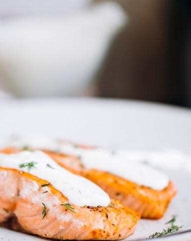 Garlic Rosemary Salmon with creamy dill sauce