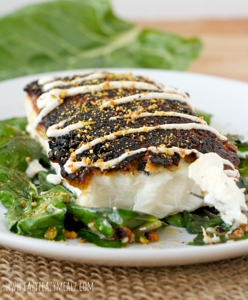 Pistachio crusted halibut baked