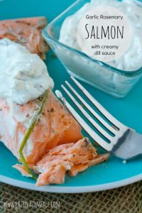 garlic rosemary slamon filet with creamy dill sauce #Salmon #sousvide