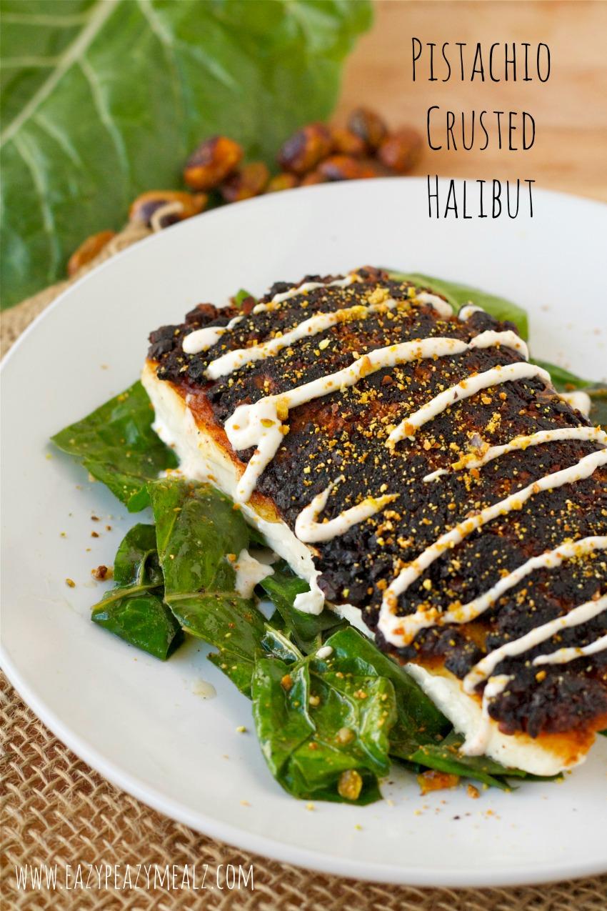 pistachio crusted halibut yum eazy peazy mealz