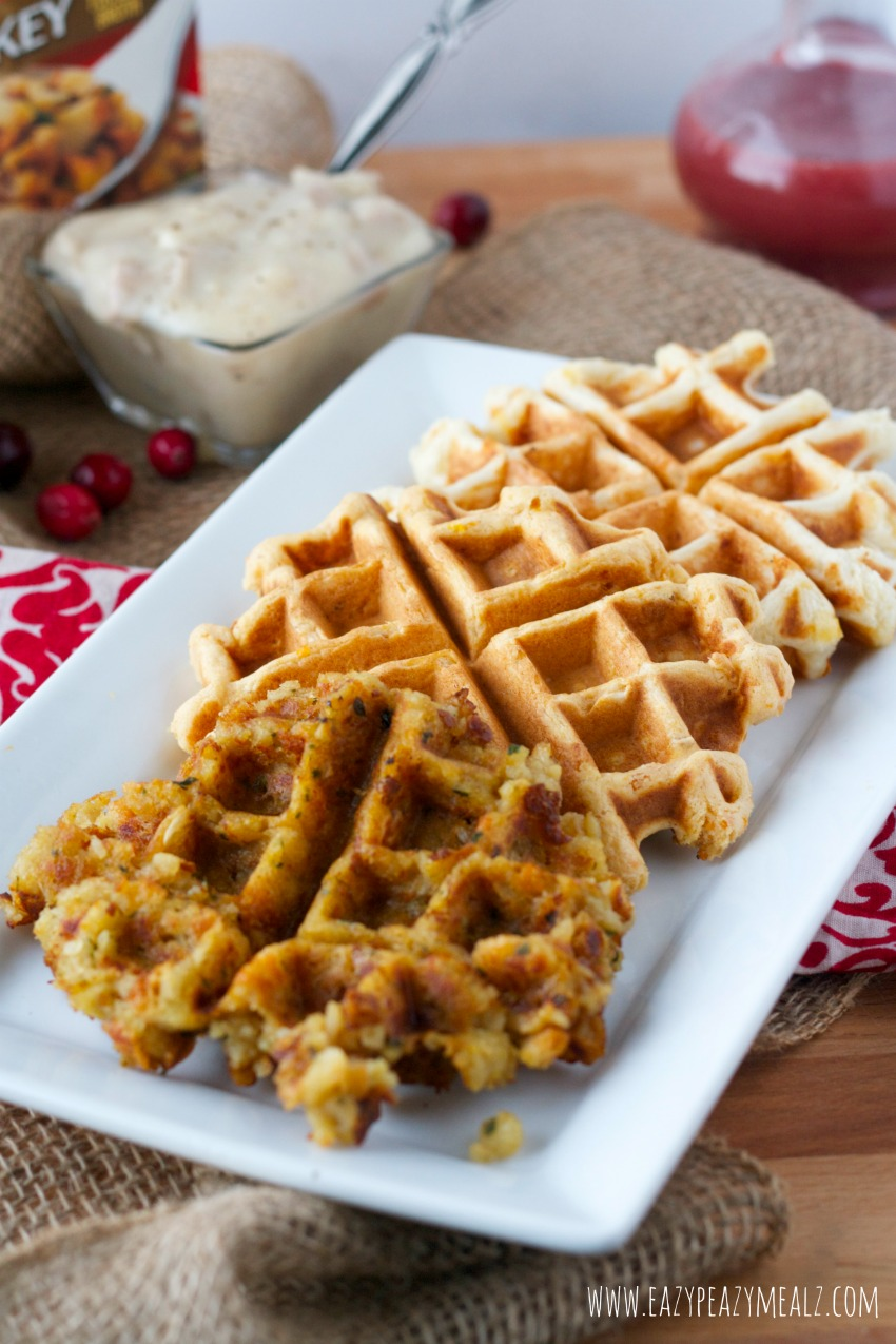 stuffing, mashed, and sweet potato waffles