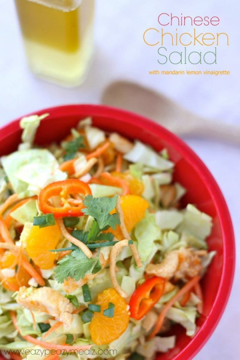 Chinese chicken salad with mandarin lemon vinaigrette dressing, a simple and healthy dinner option