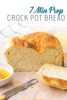 This bread is so easy and only takes 7 minutes of prep time, just dump everything in a mixer, knead, and put in crock pot to cook.