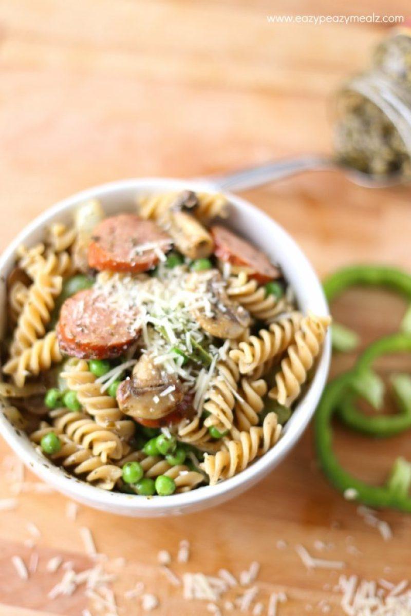 mushroom sausage pasta with pesto