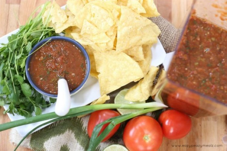 blender salsa delimex party, a delicious chip dip for your delimex party for basketball season