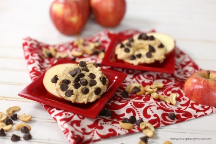 chocolate chip cookie sandwich with apples