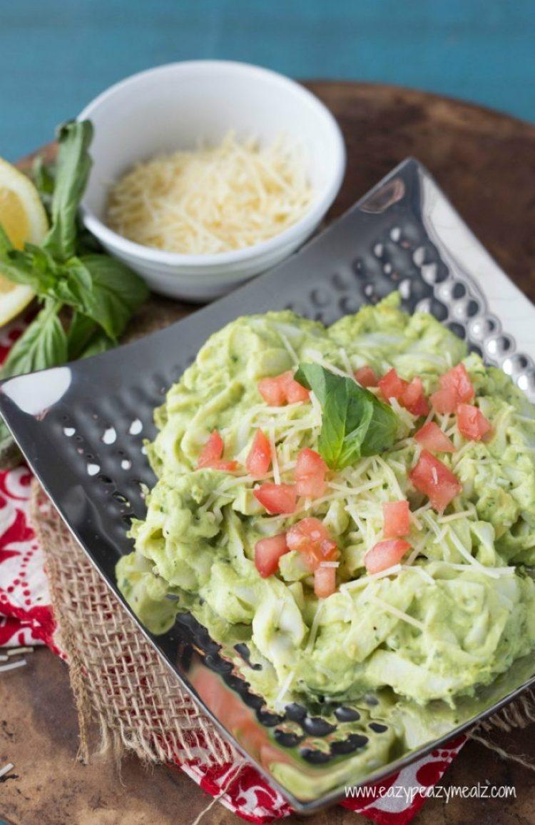 creamy avocado noodles with parm