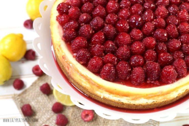 top of lemon rasp cheesecake