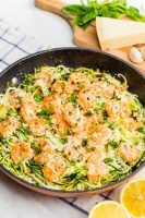 Delicious zucchini noodles with shrimp scampi