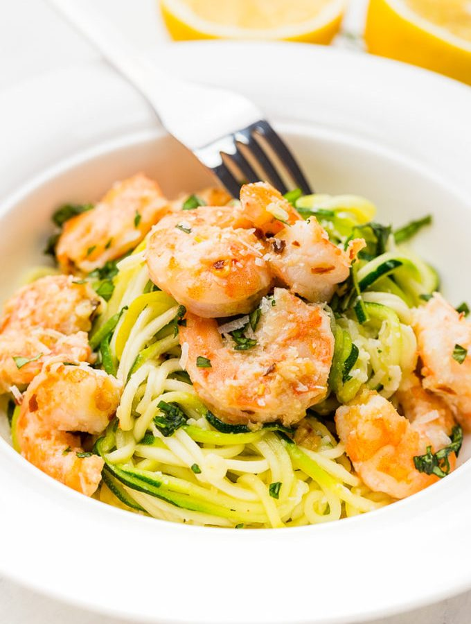 A plate full of zucchini noodle shrimp scampi