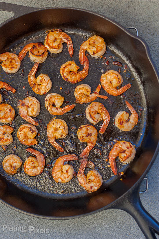 Blackened shrimp with mango dipping sauce