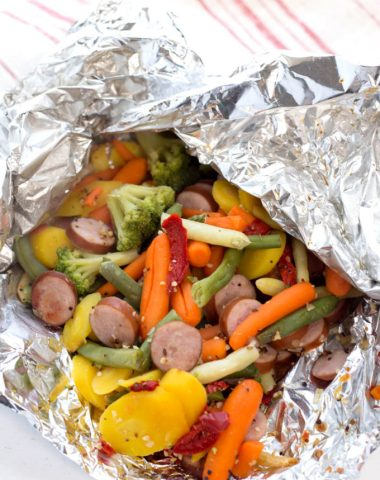 Campfire Dinners: Sausage, veggie, and a whole lotta flavor, cooked in foil in the coals of a fire.