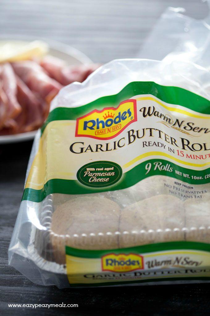 Cheesy Ham and Garlic Sandwich Bake: Rhodes Garlic Butter Rolls still in bag ready to warm and serve