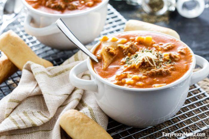 A comforting bowl of lasagna soup