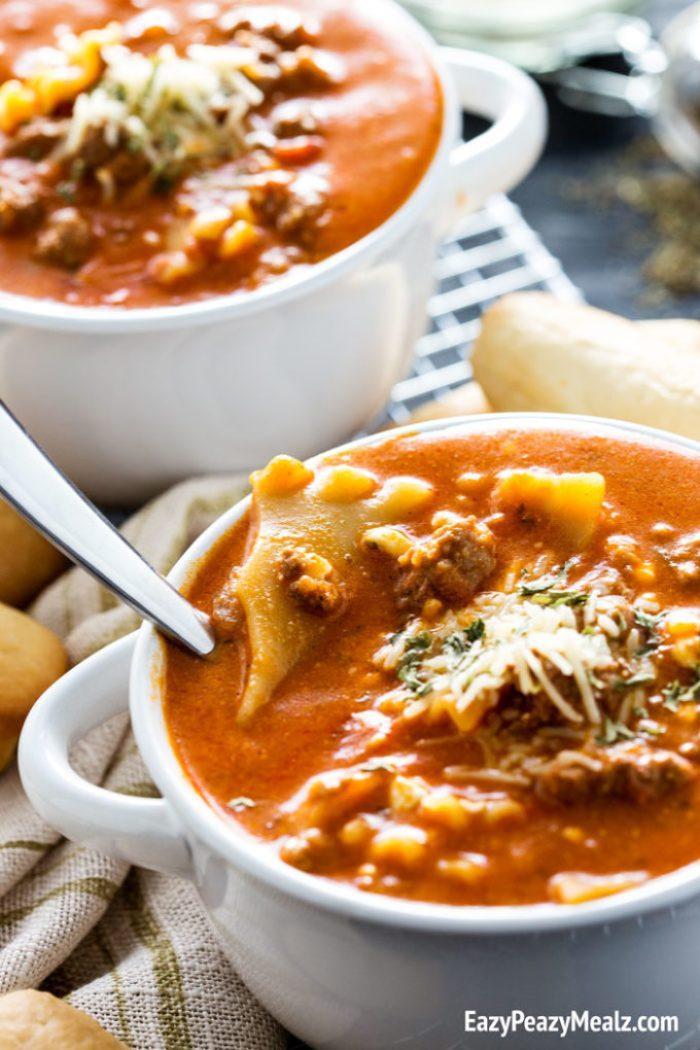 Comforting fall lasagna soup!