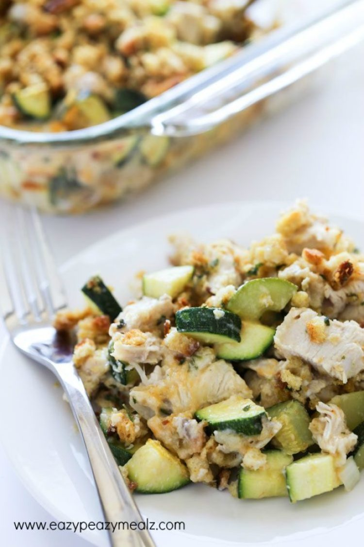 Cheesy Turkey Zucchini Casserole: Turkey and zucchini casserole served on a white plate with a silver fork