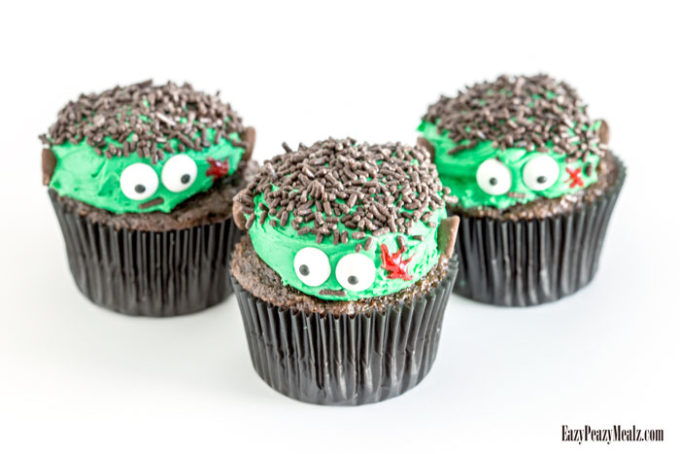 Frankenstein cupcakes are easy to make and so fun for Halloween
