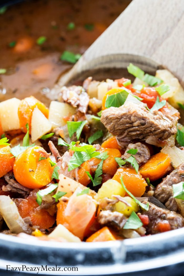 A slow cooker Italian Beef Stew that is a real crowd pleaser