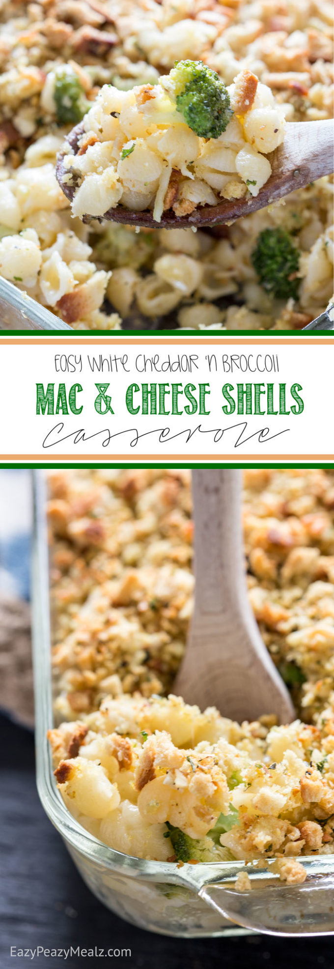 An Easy, Cheesy, White cheddar and broccoli mac and cheese shells casserole. This is quick, uses smarter ingredients, and is something the whole family will love.
