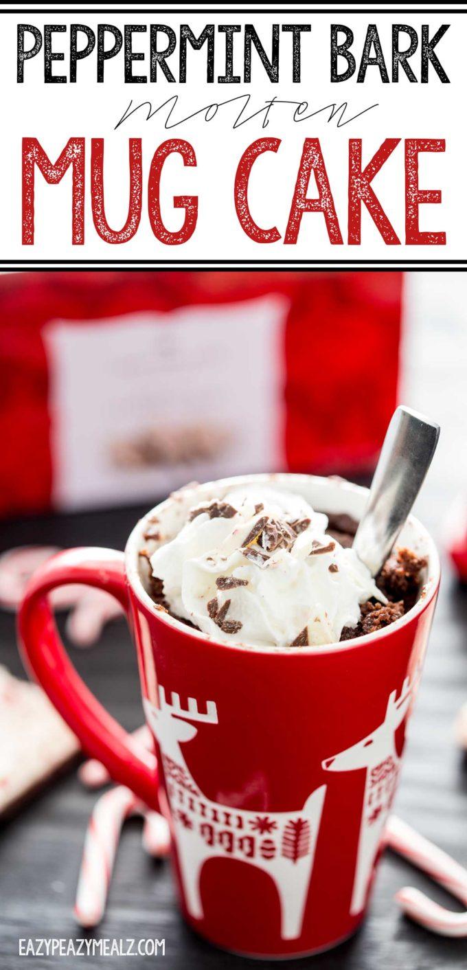 A holiday molten mug cake with peppermint and chocolate, holiday dessert recipe, a chocolate molten mug cake