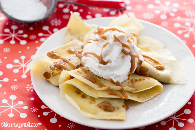 Easy to make crepes stuffed with cookie butter and topped with whipped cream and caramel