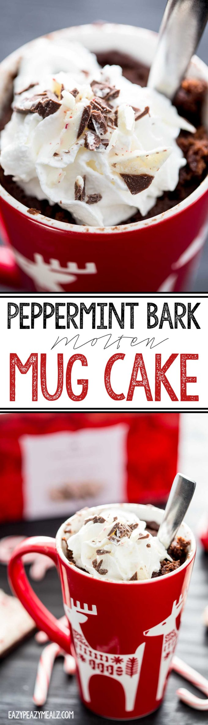 Peppermint Bark Lava Mug Cake is a quick single serve delicious dessert, a holiday dessert