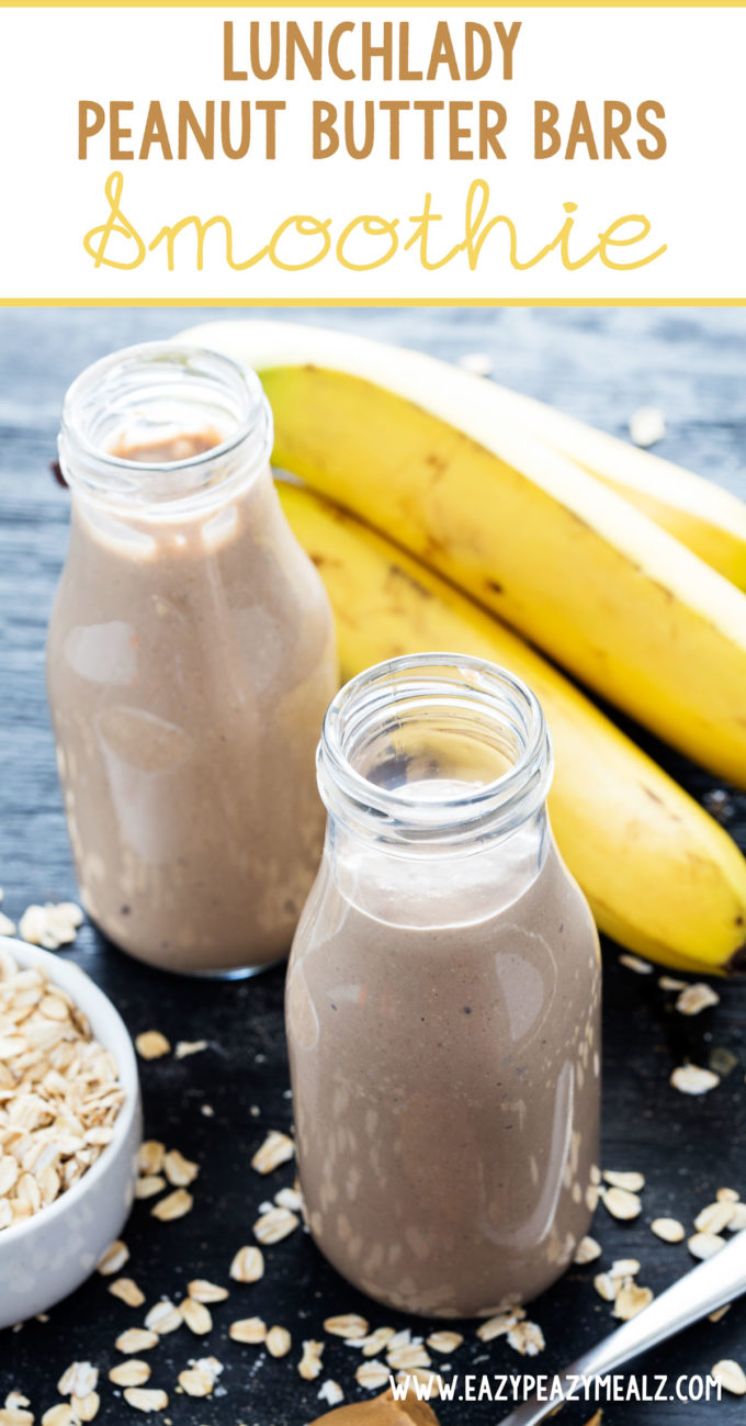 Peanut butter bar smoothie, like the lunchlady peanut butter bars but in smoothie form. Protein packed and dairy free. Yum!