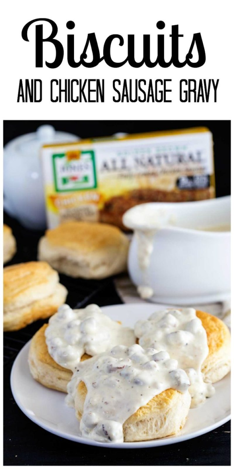 Biscuits and chicken sausage gravy, a hearty breakfast, a simple breakfast