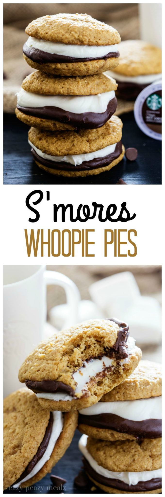 S'mores Whoopie Pies is a graham cracker cake cookie with chocolate ganache and a tasty marshmallow buttercream, that perfectly compliments the new Starbucks® Hot Cocoa K-Cup® pods.