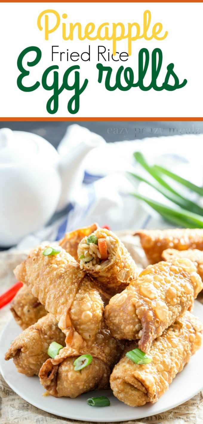 Pineapple fried rice egg rolls are tasty and delicious
