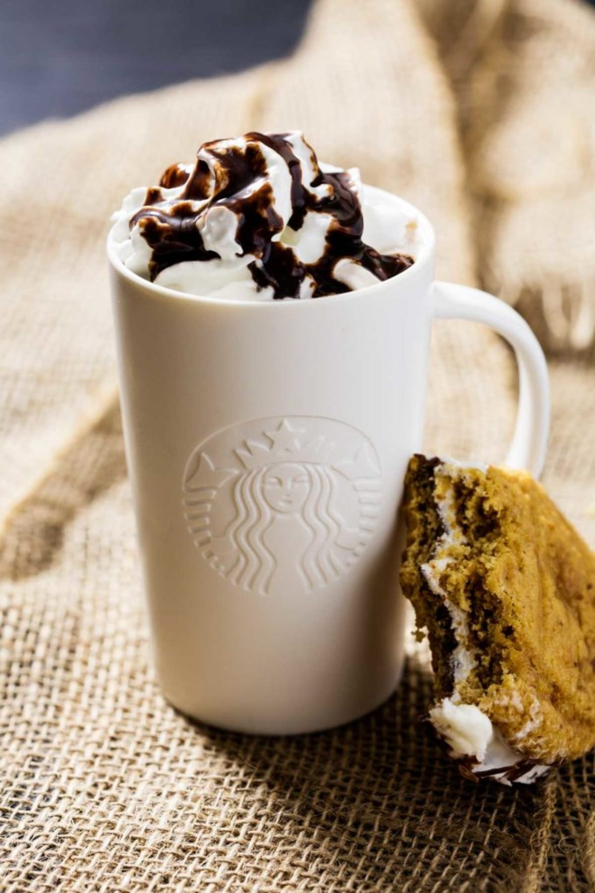 S'mores Whoopie Pies and Cocoa: Cocao with a graham cracker cake cookie with chocolate ganache and a tasty marshmallow buttercream, that perfectly complimentsthe newStarbucks® Hot Cocoa K-Cup® pods.