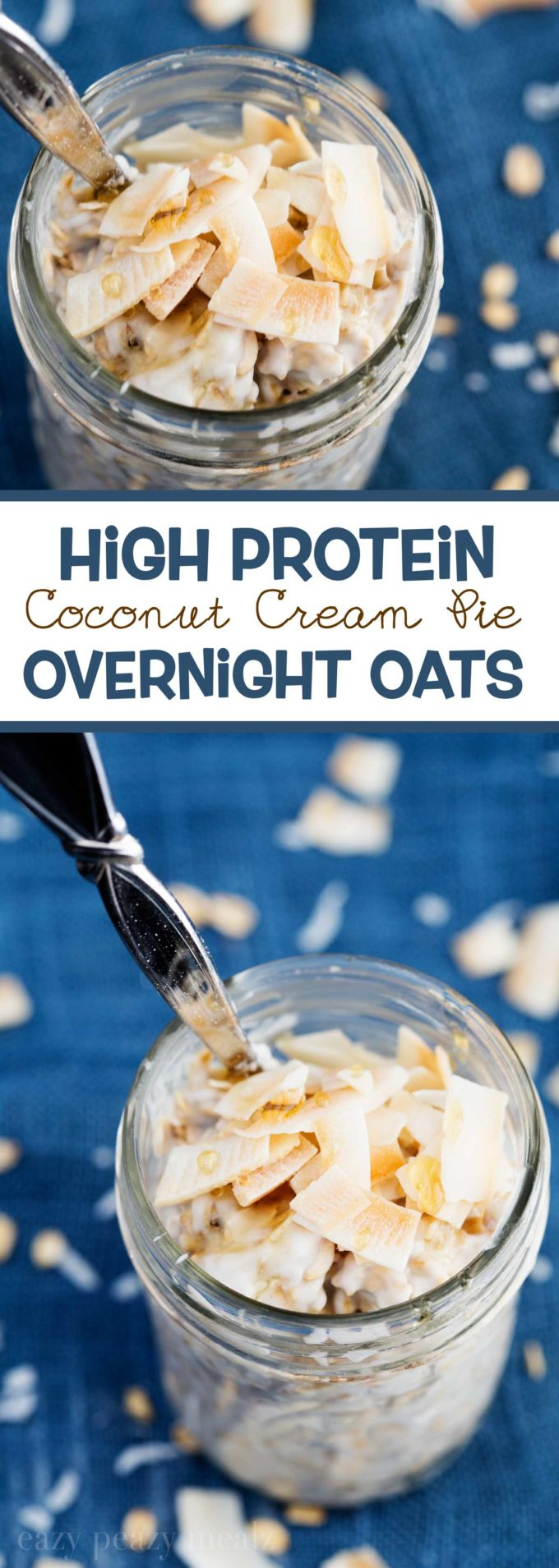 High Protein Coconut Cream Pie Overnight Oats, made with Vital Proteins collagen peptides. #ad