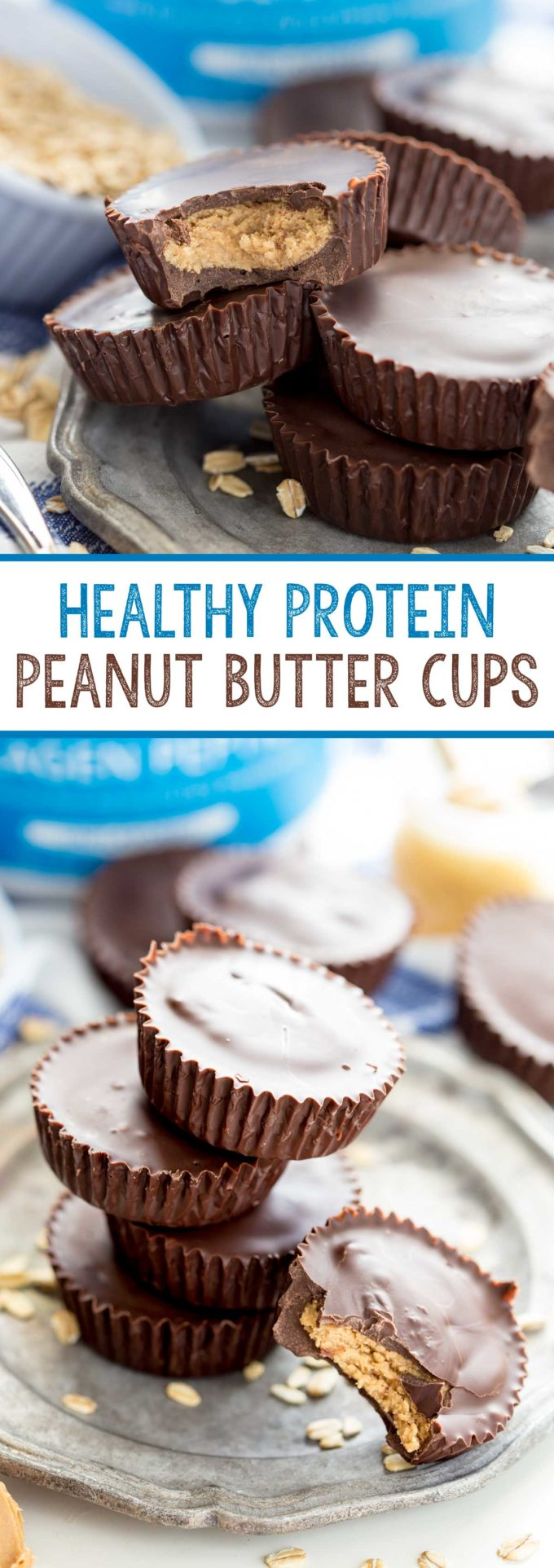 homemade delicious and healthy peanut butter cups. Rich dark chocolate, creamy peanut butter filling, and a healthy serving of protein per peanut butter cup