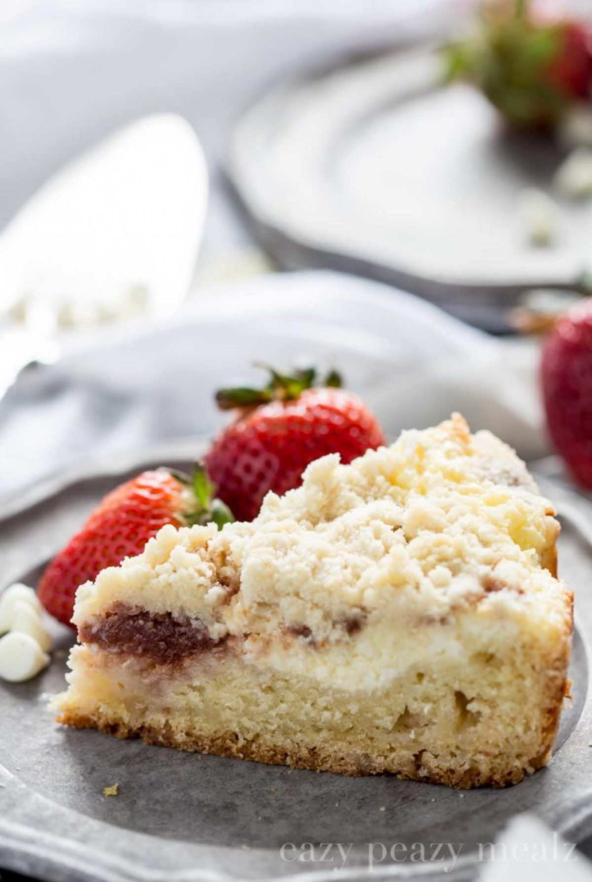 Coffee cake for breakfast, it's so delicious, this has white chocolate and strawberries.