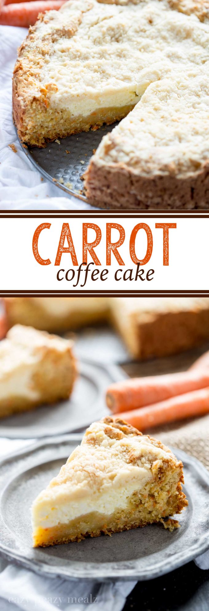 Carrot cake base, cream cheese filling, and a crumb topping, a fabulous treat or breakfast
