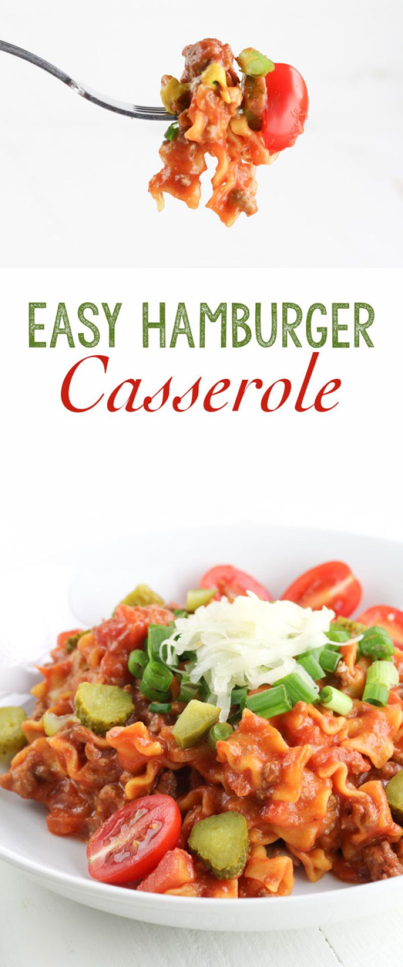 Easy Hamburger Casserole: This hamburger casserole is the go-to meal of the week. Chances are you've got all these ingredients already! In under 30 minutes you'll have your favorite hamburger in casserole form.