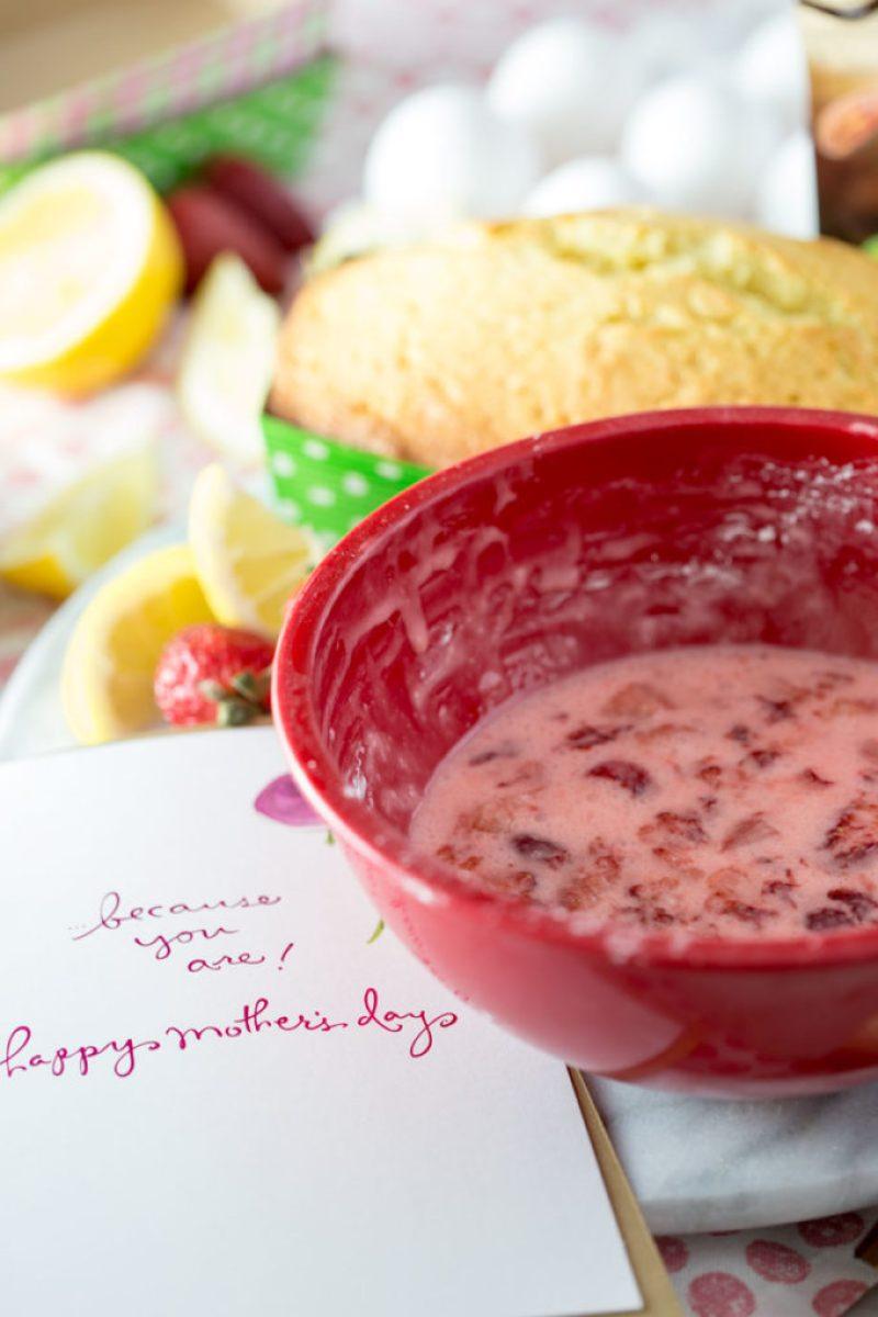 strawberry glaze to top the lemon pound cakes