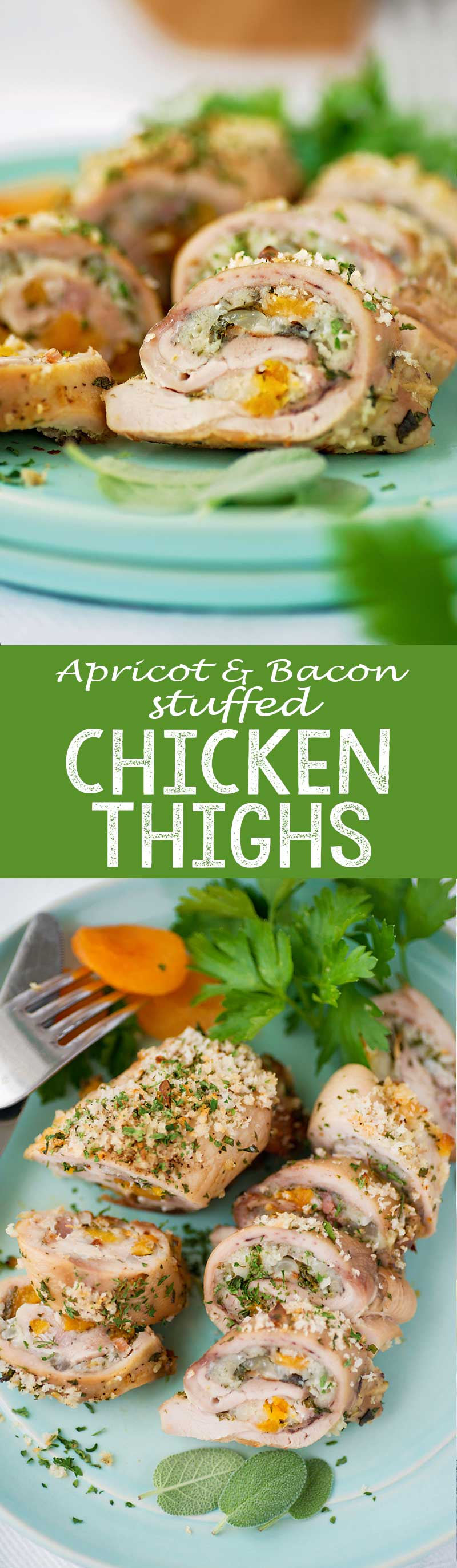 Apricot and Bacon stuffed chicken thighs