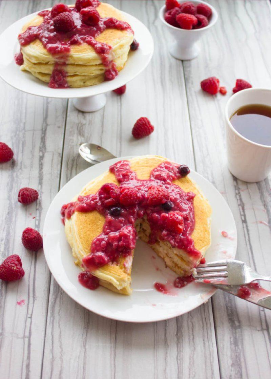 Raspberry Cheesecake Pancakes